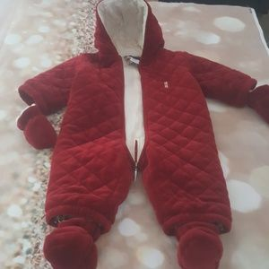 Burberry Authentic baby snowsuit 6 M red velour